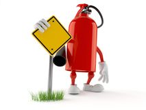 Fire extinguisher character with blank road sign. Isolated on white background. 3d illustration Royalty Free Stock Photos