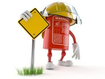 Fire extinguisher character with blank road sign. On white background Royalty Free Stock Images