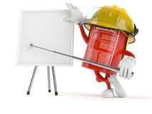 Fire extinguisher character with blank whiteboard. On white background Royalty Free Stock Images