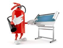 Fire extinguisher character with blueprint. Isolated on white background. 3d illustration Royalty Free Stock Photos