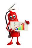 Fire Extinguisher character with business graph Stock Images