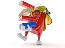 Fire extinguisher character carrying books. On white background Stock Images