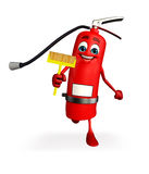 Fire Extinguisher character with Cleaning mop Stock Photos