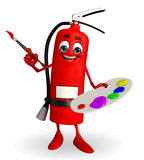 Fire Extinguisher character with color plate Stock Photography