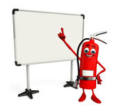 Fire Extinguisher character with display board Royalty Free Stock Images