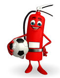 Fire Extinguisher character with football Royalty Free Stock Images