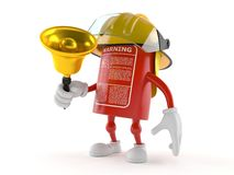 Fire extinguisher character with handbell. On white background Stock Photography