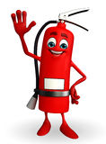 Fire Extinguisher character with hello pose Royalty Free Stock Photos