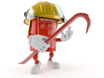 Fire extinguisher character holding crowbar. Isolated on white background Stock Images