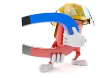 Fire extinguisher character holding horseshoe magnet. On white background Stock Photo