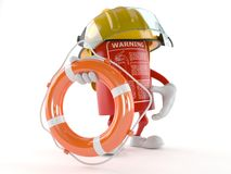 Fire extinguisher character holding life buoy. Isolated on white background Stock Images