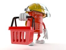 Fire extinguisher character holding shopping basket. On white background Stock Image