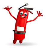 Fire Extinguisher character is jumping Stock Image