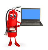 Fire Extinguisher character with Laptop Stock Image