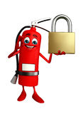 Fire Extinguisher character with lock Stock Photography