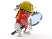 Fire extinguisher character looking through magnifying glass vector illustration