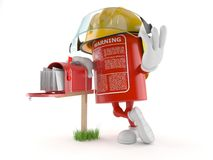 Fire extinguisher character with mailbox. On white background Stock Image