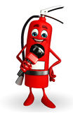 Fire Extinguisher character with mike Royalty Free Stock Images