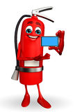 Fire Extinguisher character with mobile Stock Images