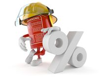Fire extinguisher character with percent symbol. On white background Stock Photography