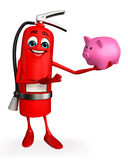 Fire Extinguisher character with piggy bank Royalty Free Stock Images
