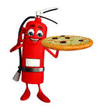 Fire Extinguisher character with pizza Stock Image