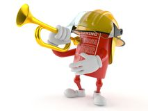 Fire extinguisher character playing the trumpet. On white background Royalty Free Stock Photos