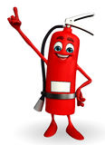 Fire Extinguisher character is pointing Stock Photos