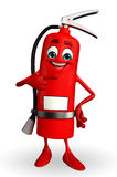 Fire Extinguisher character is pointing Royalty Free Stock Photo