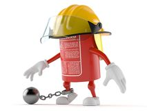 Fire extinguisher character with prison ball. Isolated on white background Stock Photography