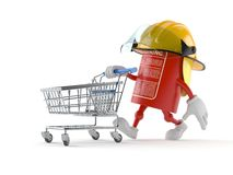 Fire extinguisher character pushing a shopping cart. Isolated on white background Royalty Free Stock Photo
