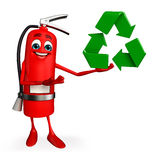 Fire Extinguisher character with recycle icon Stock Photography