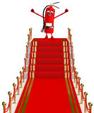 Fire Extinguisher character with red carpet Royalty Free Stock Photos