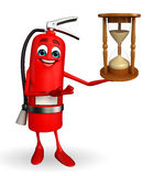 Fire Extinguisher character with sand clock Royalty Free Stock Photo