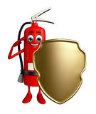 Fire Extinguisher character with shield Royalty Free Stock Photos