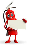 Fire Extinguisher character with sign Stock Photos