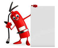 Fire Extinguisher character with sign Stock Image