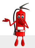 Fire Extinguisher character with  sign Royalty Free Stock Photography