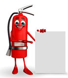 Fire Extinguisher character with sign Stock Photography