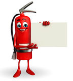 Fire Extinguisher character with  sign Royalty Free Stock Photo