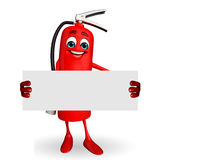 Fire Extinguisher character with sign Royalty Free Stock Images