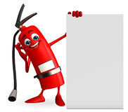 Fire Extinguisher character with sign Royalty Free Stock Photos