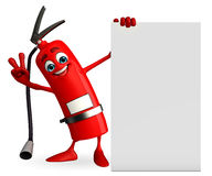 Fire Extinguisher character with sign Stock Photo