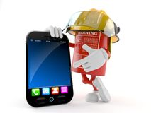 Fire extinguisher character with smart phone. Isolated on white background Royalty Free Stock Images