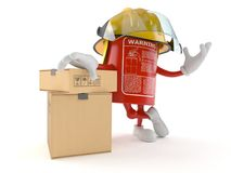 Fire extinguisher character with stack of boxes. On white background Stock Photos