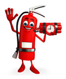 Fire Extinguisher character with time bomb Stock Image
