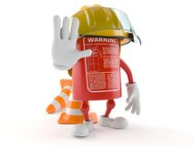 Fire extinguisher character with traffic cone. On white background Stock Images