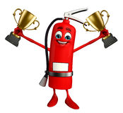 Fire Extinguisher character with trophy Stock Image