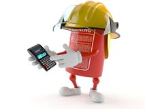Fire extinguisher character using calculator. On white background Stock Images