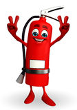 Fire Extinguisher character with victory sign Royalty Free Stock Photo